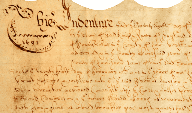 Early legal document for indentured services. British, hand-written on vellum and dated 1691