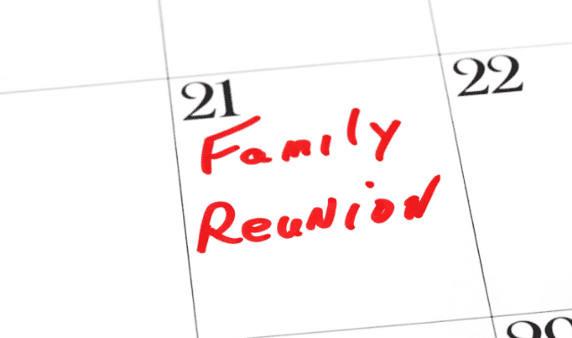 "Calendar square with date and ""Family Reunion"" written in red marker"