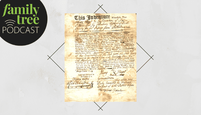 Indentured servant contract on a grey background with the Family Tree Podcast logo.