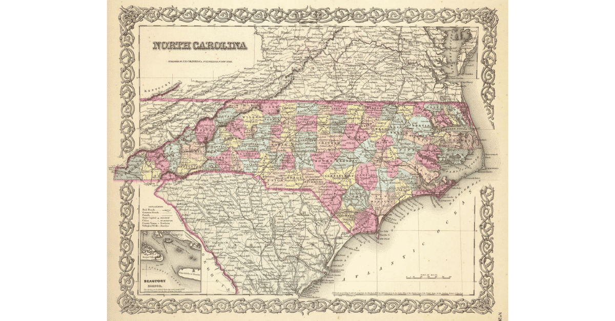 Historic map of North Carolina with counties useful for genealogists