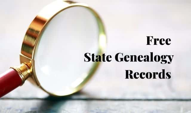"""Magnifying glass with the words """"Free State Genealogy Records"""""""