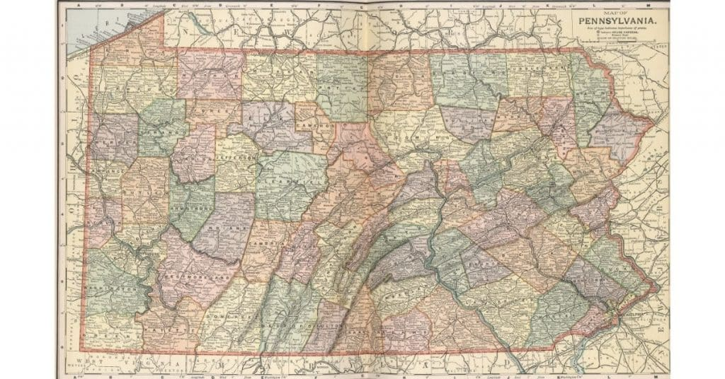 Historic map of Pennsylvania useful for genealogists