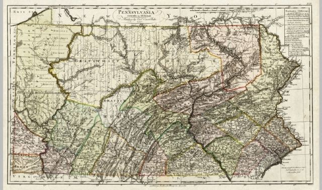 Historical map of Pennsylvania, from the 1790s