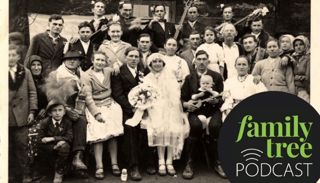 Vintage photo of a wedding party with the Family Tree Podcast logo.