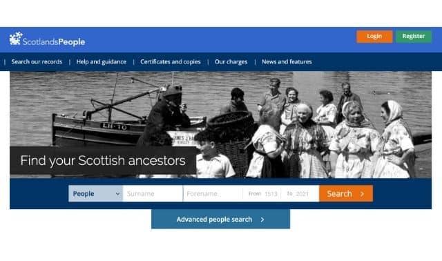 Screenshot from home page of ScotlandsPeople genealogy website