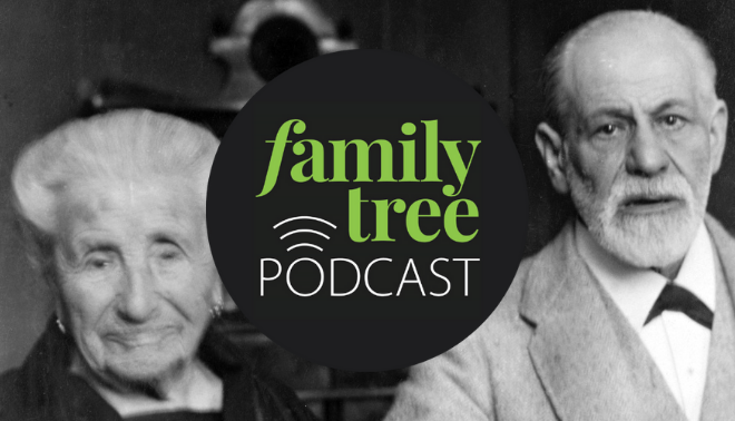 Sigmund Freud and his mother overlaid with Family Tree Podcast logo.