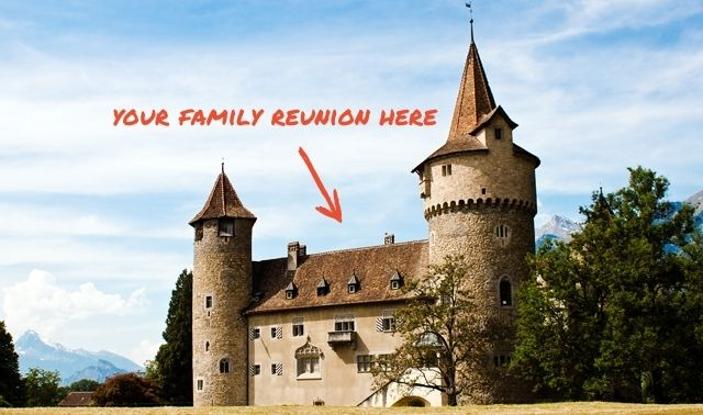 """Castle with text overlay reading """"Your family reunion here"""" and an arrow pointing to the caslte"""