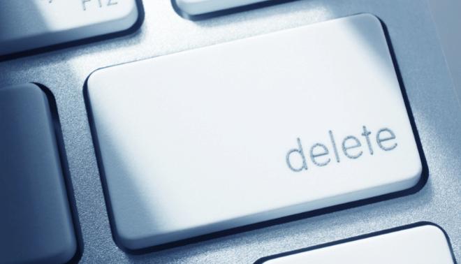 Delete key on a computer keyboard.