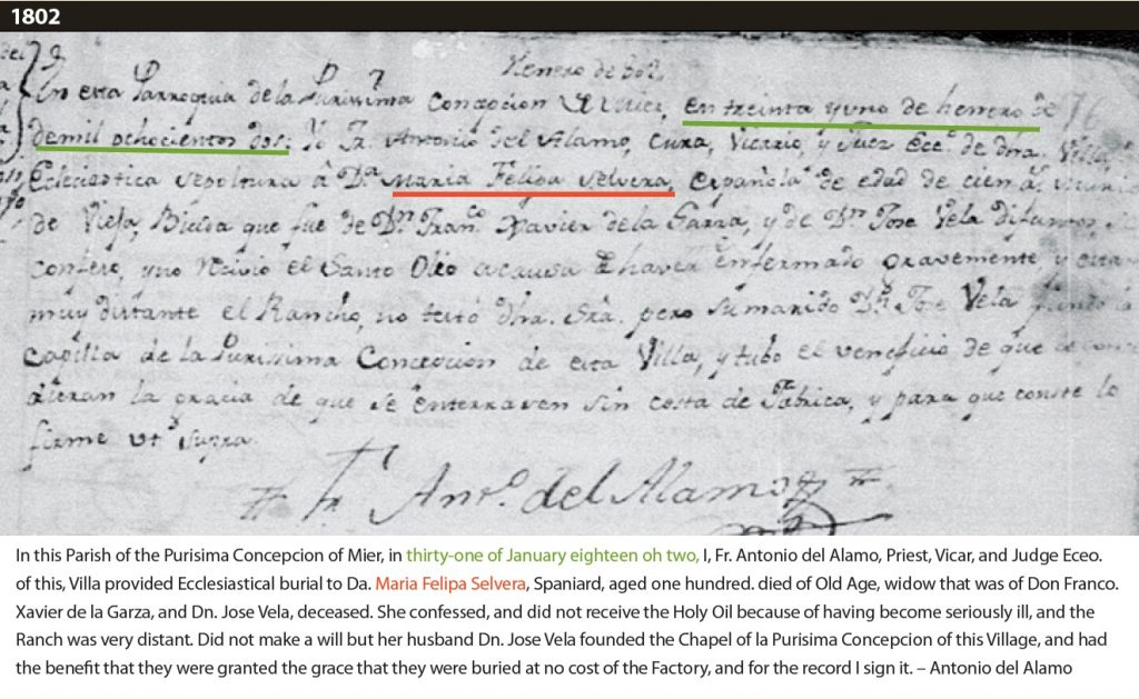 """Death record with translation that reads: """"In this Parish of the Purisima Concepcion of Mier, in thirty-one of January eighteen oh two, I, Fr. Antonio del Alamo, Priest, Vicar, and Judge Eceo. of this, Villa provided Ecclesiastical burial to Da. Maria Felipa Selvera, Spaniard, aged one hundred. died of Old Age, widow that was of Don Franco. Xavier de la Garza, and Dn. Jose Vela, deceased. She confessed, and did not receive the Holy Oil because of having become seriously ill, and the Ranch was very distant. Did not make a will but her husband Dn. Jose Vela founded the Chapel of la Purisima Concepcion of this Village, and had the benefit that they were granted the grace that they were buried at no cost of the Factory, and for the record I sign it. – Antonio del Alamo"""""""