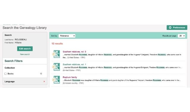 Search results from Geneanet's genealogy library