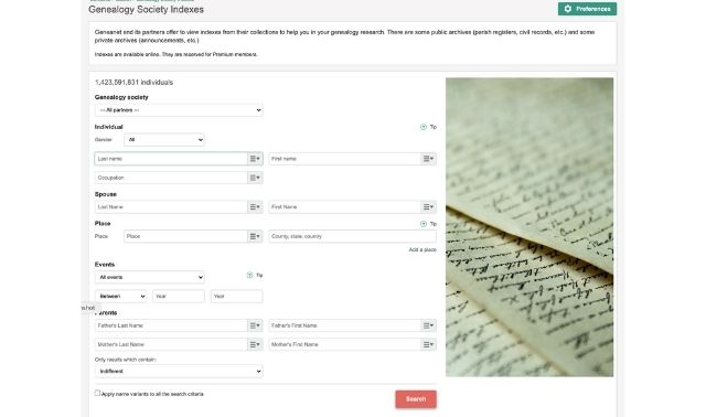 Search form for the Geneanet society indexes