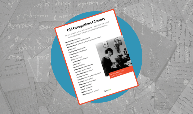 Family Tree Magazine's free glossary of old occupations on a grey background.