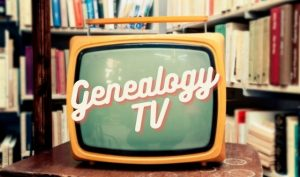 Retro TV in front of bookcase with Genealogy TV text overlay
