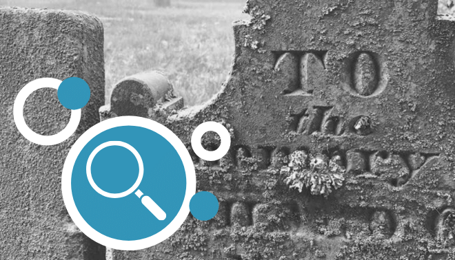 Tombstones with magnifying glass icon detail.