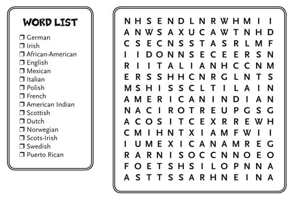 heritage groups word search family tree
